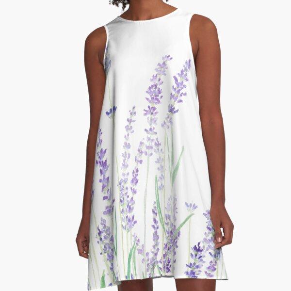 lila Lavendel A-Linien Kleid