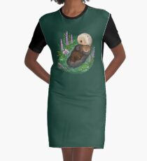 Sea Otter Mother & Baby Graphic T-Shirt Dress