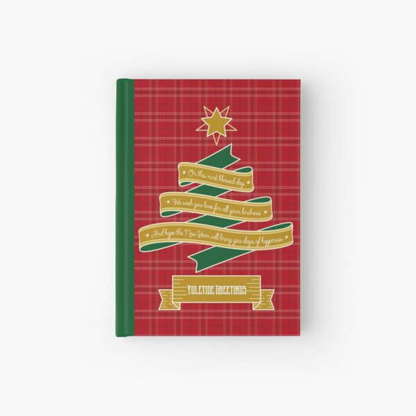 Ribbon Christmas Tree Red Plaid Yuletide Greetings Hardcover Journal