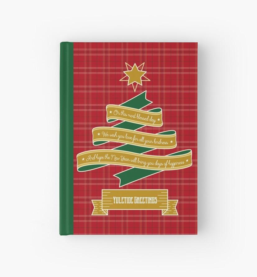 Ribbon Christmas Tree Red Plaid Yuletide Greetings by Beverly Claire Kaiya
