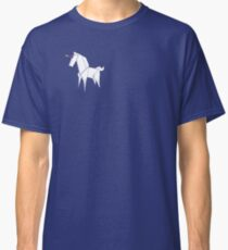 Origami Unicorn White With Rainbow Horn Classic T-Shirt