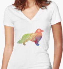 Longhaired dachshund  Women's Fitted V-Neck T-Shirt