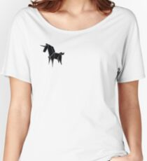 Origami Unicorn Black Women's Relaxed Fit T-Shirt