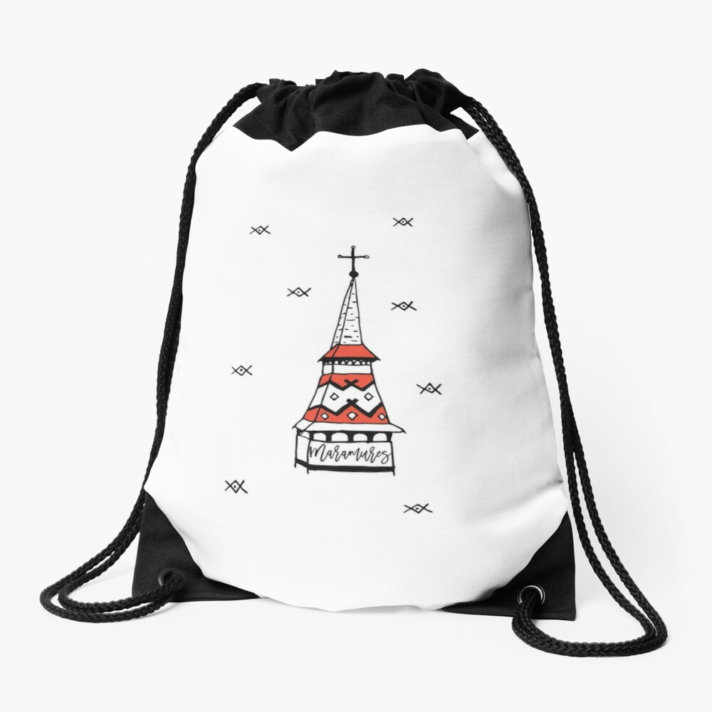 Little monastery in Maramures Drawstring Bag