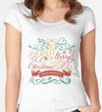 Have Yourself A Merry Little Christmas Love Typography Women's Fitted Scoop T-Shirt