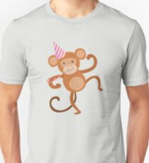Monkey Cute Animal Character Attending Birthday Party T-Shirt