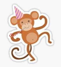 Monkey Cute Animal Character Attending Birthday Party Sticker