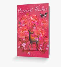 Deer in Flowers Greeting Card