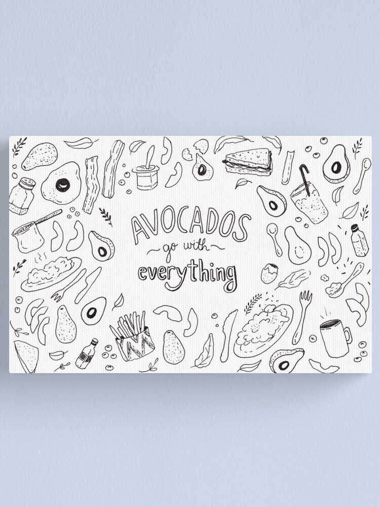 Alternate view of Avocados go with everything - Illustrated Pattern  Canvas Print
