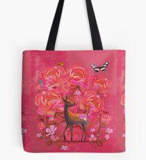 Deer in Flowers Tote Bag