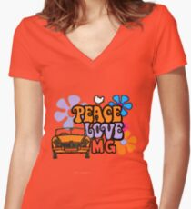 Peace love & MG Women's Fitted V-Neck T-Shirt