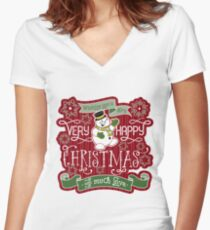 Snowman Very Happy Christmas With Much Love Typography Women's Fitted V-Neck T-Shirt