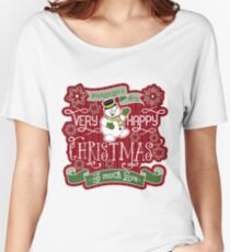 Snowman Very Happy Christmas With Much Love Typography Relaxed Fit T-Shirt