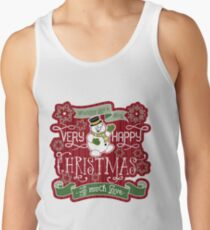 Snowman Very Happy Christmas With Much Love Typography Tank Top