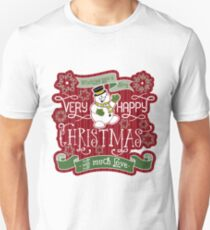 Snowman Very Happy Christmas With Much Love Typography Slim Fit T-Shirt