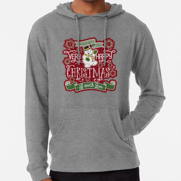 Snowman Very Happy Christmas With Much Love Typography Lightweight Hoodie