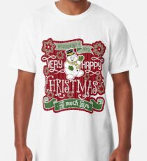 Snowman Very Happy Christmas With Much Love Typography Long T-Shirt