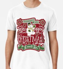 Snowman Very Happy Christmas With Much Love Typography Premium T-Shirt