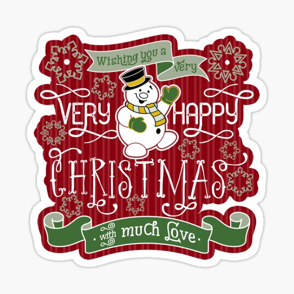 Snowman Very Happy Christmas With Much Love Typography Sticker