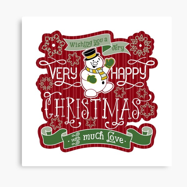 Snowman Very Happy Christmas With Much Love Typography Canvas Print