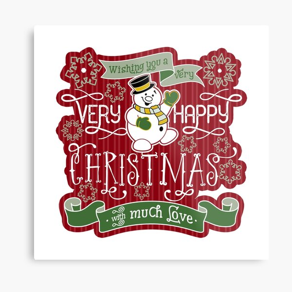 Snowman Very Happy Christmas With Much Love Typography Metal Print
