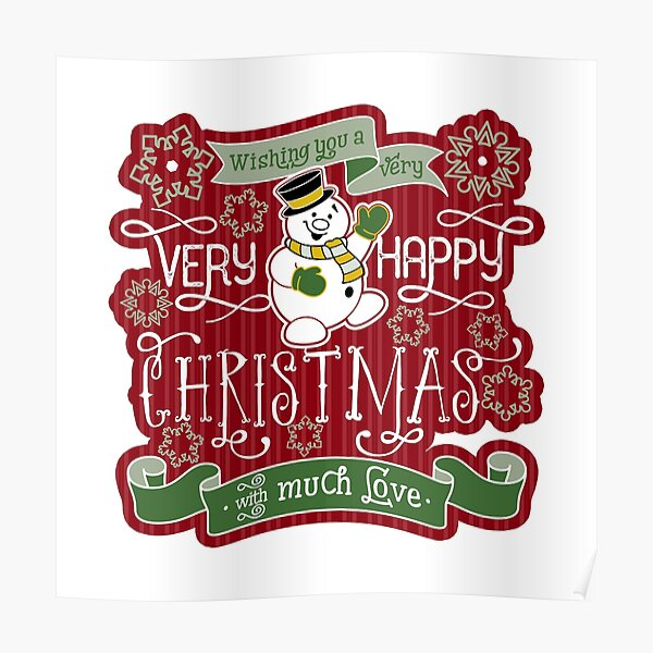 Snowman Very Happy Christmas With Much Love Typography Poster