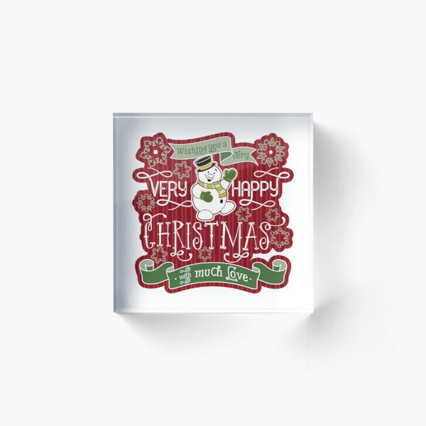 Snowman Very Happy Christmas With Much Love Typography Acrylic Block