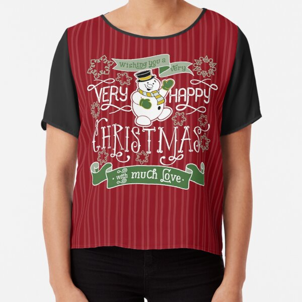 Wishing You A Very Happy Christmas Snowman Typography Chiffon Top