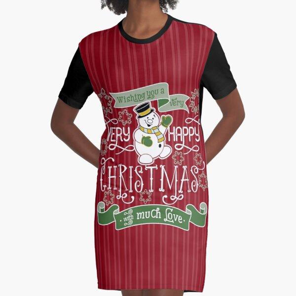 Wishing You A Very Happy Christmas Snowman Typography Graphic T-Shirt Dress
