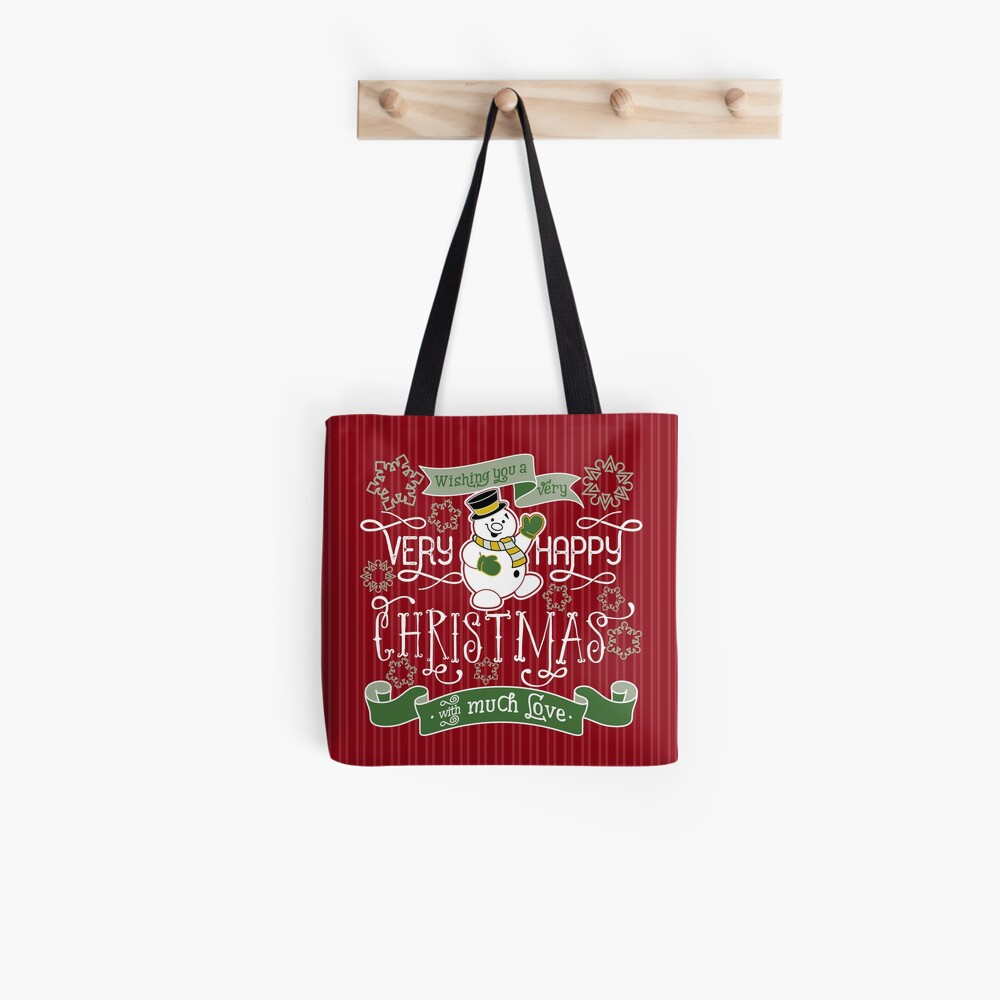 Wishing You A Very Happy Christmas Snowman Typography Tote Bag