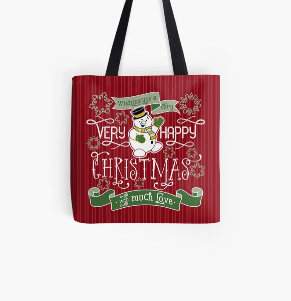 Wishing You A Very Happy Christmas Snowman Typography All Over Print Tote Bag