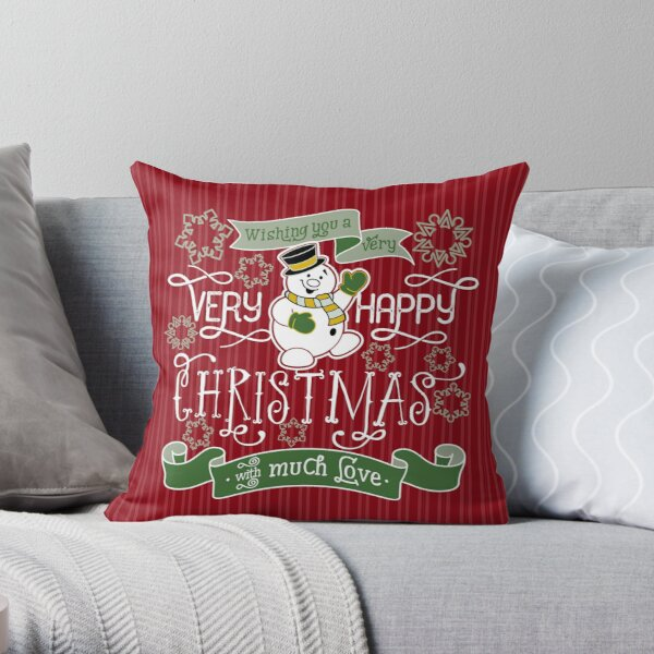 Wishing You A Very Happy Christmas Snowman Typography Throw Pillow