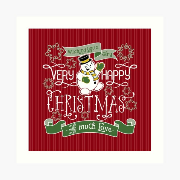 Wishing You A Very Happy Christmas Snowman Typography Art Print