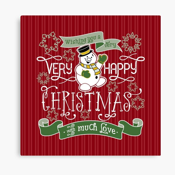 Wishing You A Very Happy Christmas Snowman Typography Canvas Print