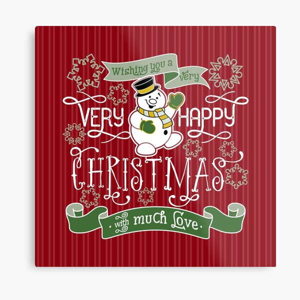 Wishing You A Very Happy Christmas Snowman Typography Metal Print