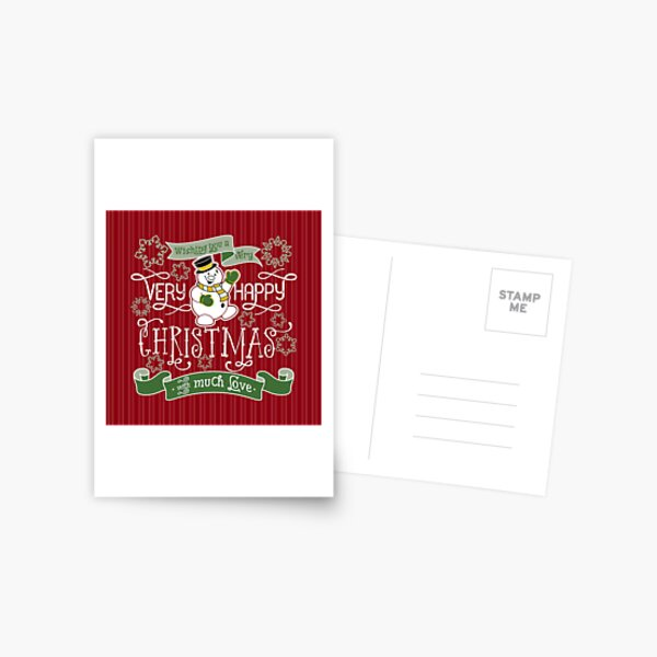 Wishing You A Very Happy Christmas Snowman Typography Postcard