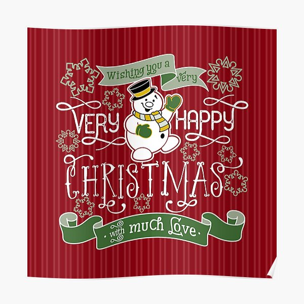 Wishing You A Very Happy Christmas Snowman Typography Poster