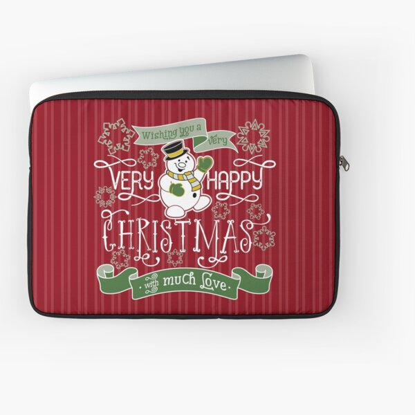 Wishing You A Very Happy Christmas Snowman Typography Laptop Sleeve