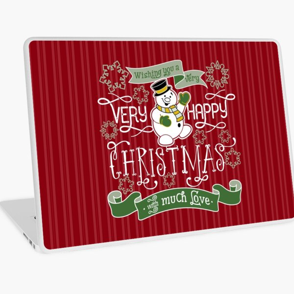 Wishing You A Very Happy Christmas Snowman Typography Laptop Skin