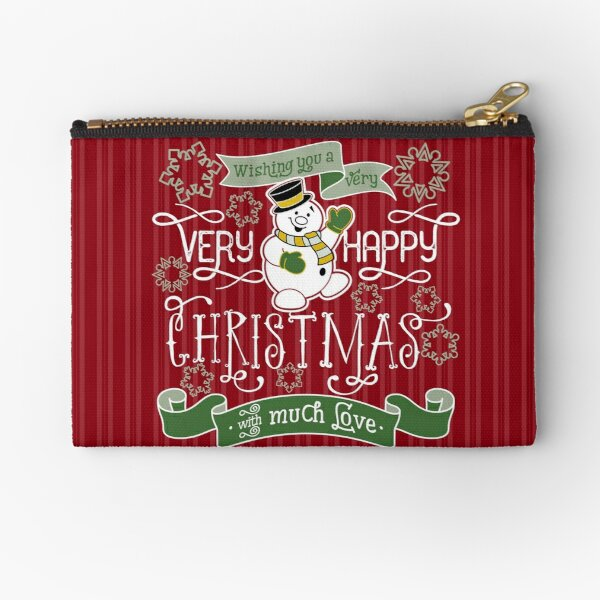 Wishing You A Very Happy Christmas Snowman Typography Zipper Pouch