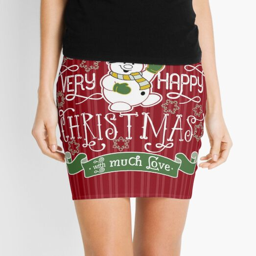 Wishing You A Very Happy Christmas Snowman Typography Mini Skirt