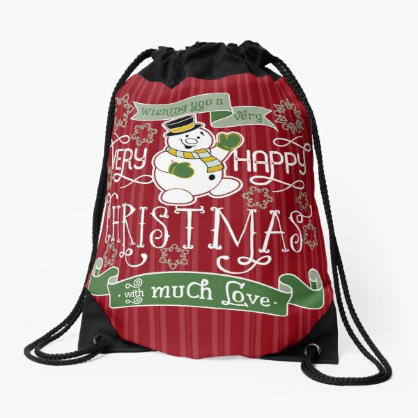 Wishing You A Very Happy Christmas Snowman Typography Drawstring Bag