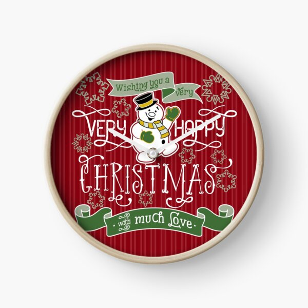 Wishing You A Very Happy Christmas Snowman Typography Clock