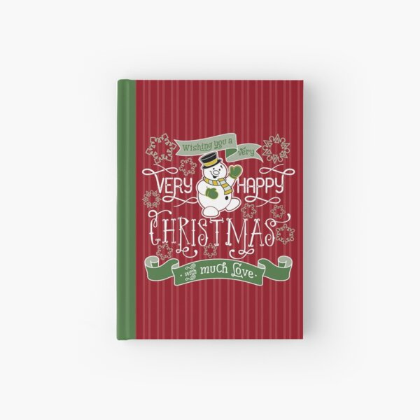 Wishing You A Very Happy Christmas Snowman Typography Hardcover Journal