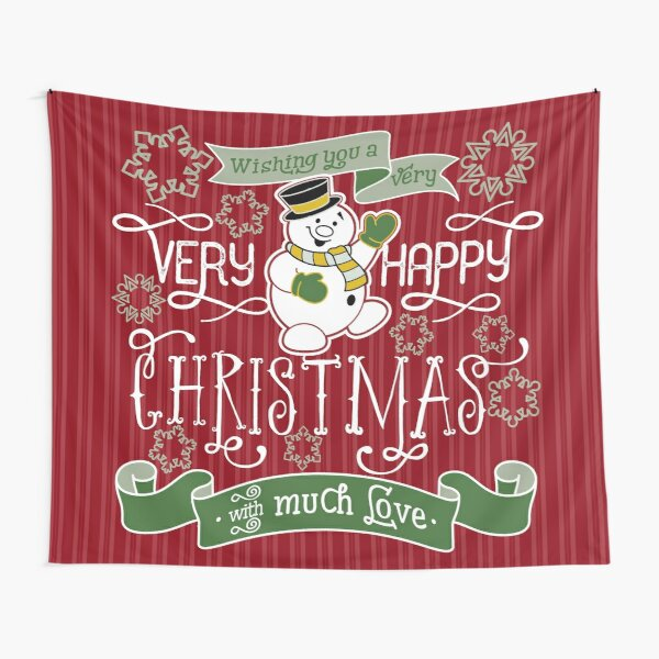 Wishing You A Very Happy Christmas Snowman Typography Tapestry