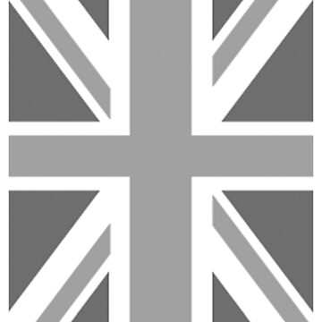 BRITISH, UNION JACK, FLAG, BLIGHTY, PORTRAIT, IN GREY, UK ENGLAND by TOMSREDBUBBLE