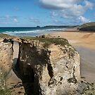 Chapel rock and Perranporth beach cornwall  by eddiej