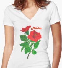 Aloha Red Hibiscus Greetings Women's Fitted V-Neck T-Shirt
