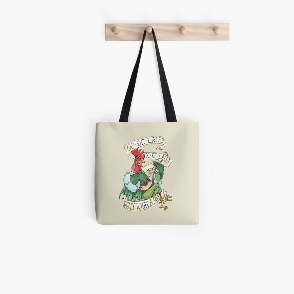 Alan-A-Dale Rooster : OO-De-Lally Golly What A Day Tattoo Watercolor Painting Robin Hood Tote Bag