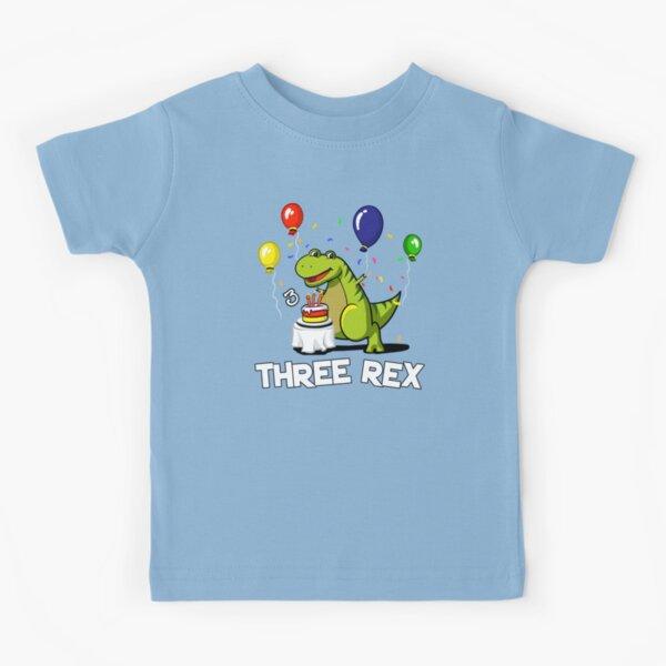 Three Rex 3rd Birthday Party Cartoon T-Rex Dinosaur Kids T-Shirt